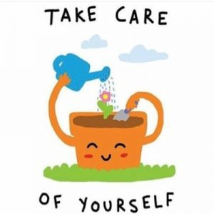 """An image of a cartoon plant that is smiling, watering itself, as flowers sprout from the soil. The words """"take care of yourself"""" surround the happy flower pot."""