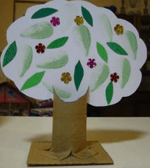 An image of a tree made out of paper, stickers and coloring; an arts and crafts project.