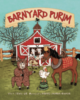A book cover titled: Barnyard Purim by Kelly Terwilliger. The cover image features cartoon animals in front of a red barn, all dressed up in costumes for Purim.