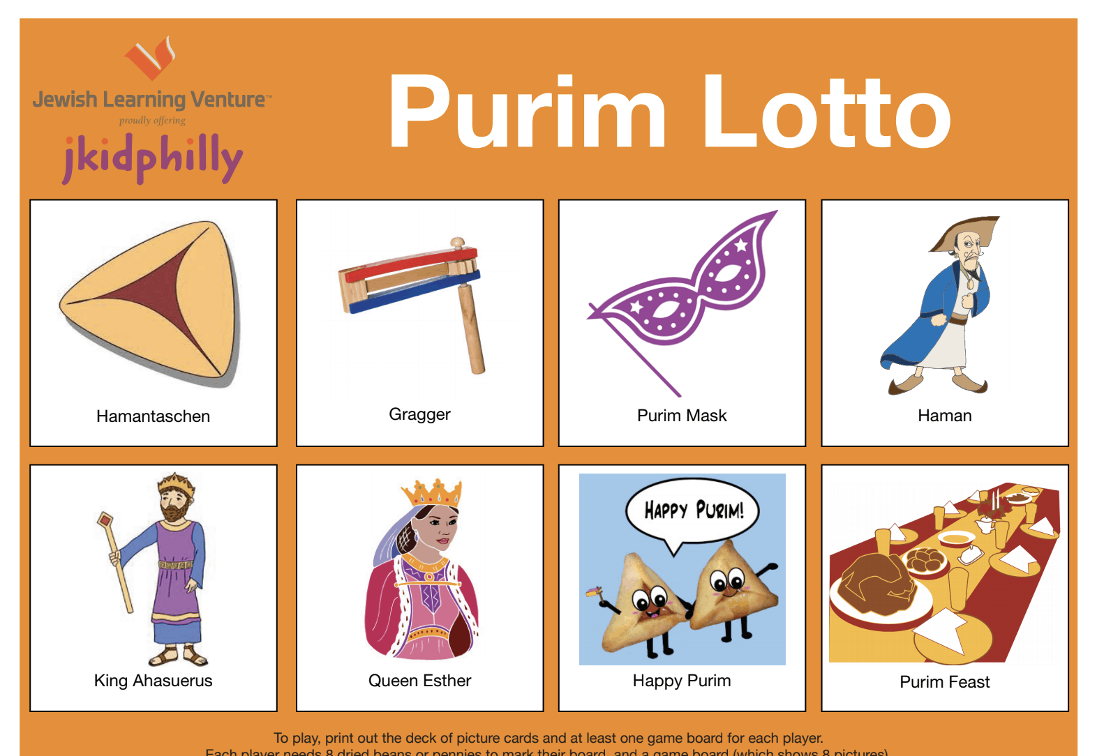 A purim lotto. There are eigut different boxes filled with items including: hamantashen, grogger, purim mask, haman, king ahasuerus, queen esther, happy purim, and purim feast.