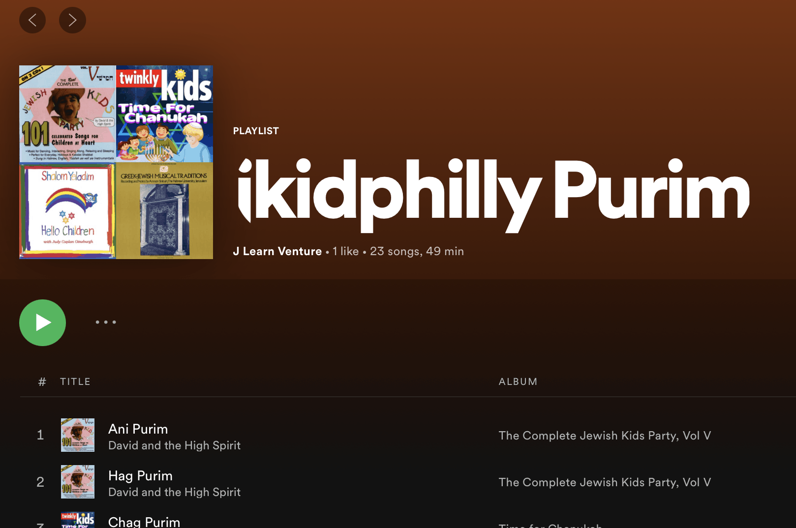 A jkidphilly spotify playlist for Purim!