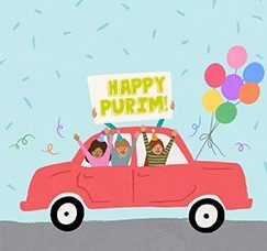 """Cute graphic of a three people riding in a red car holding balloons and a sign that says """"Happy Purim!"""""""