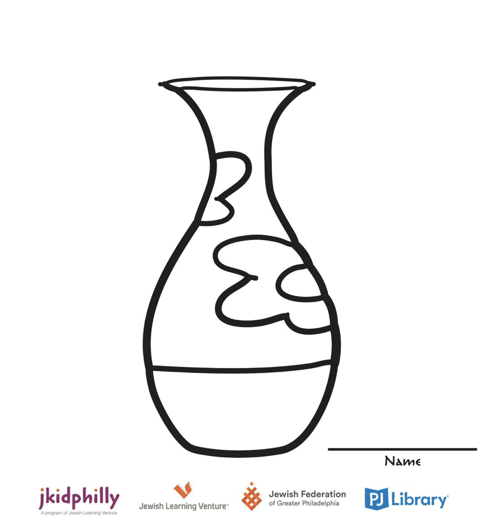 A coloring page for a vase. It has flowers on the side that you can color in and make your own!
