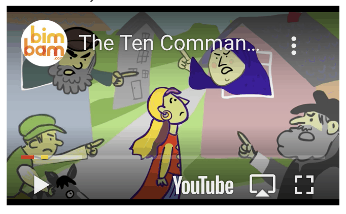 A screenshot of a youtube video called: The Ten commandments, featuring a picture of a young girl looking up at different people yelling at her and pointing their fingers at her in anger.