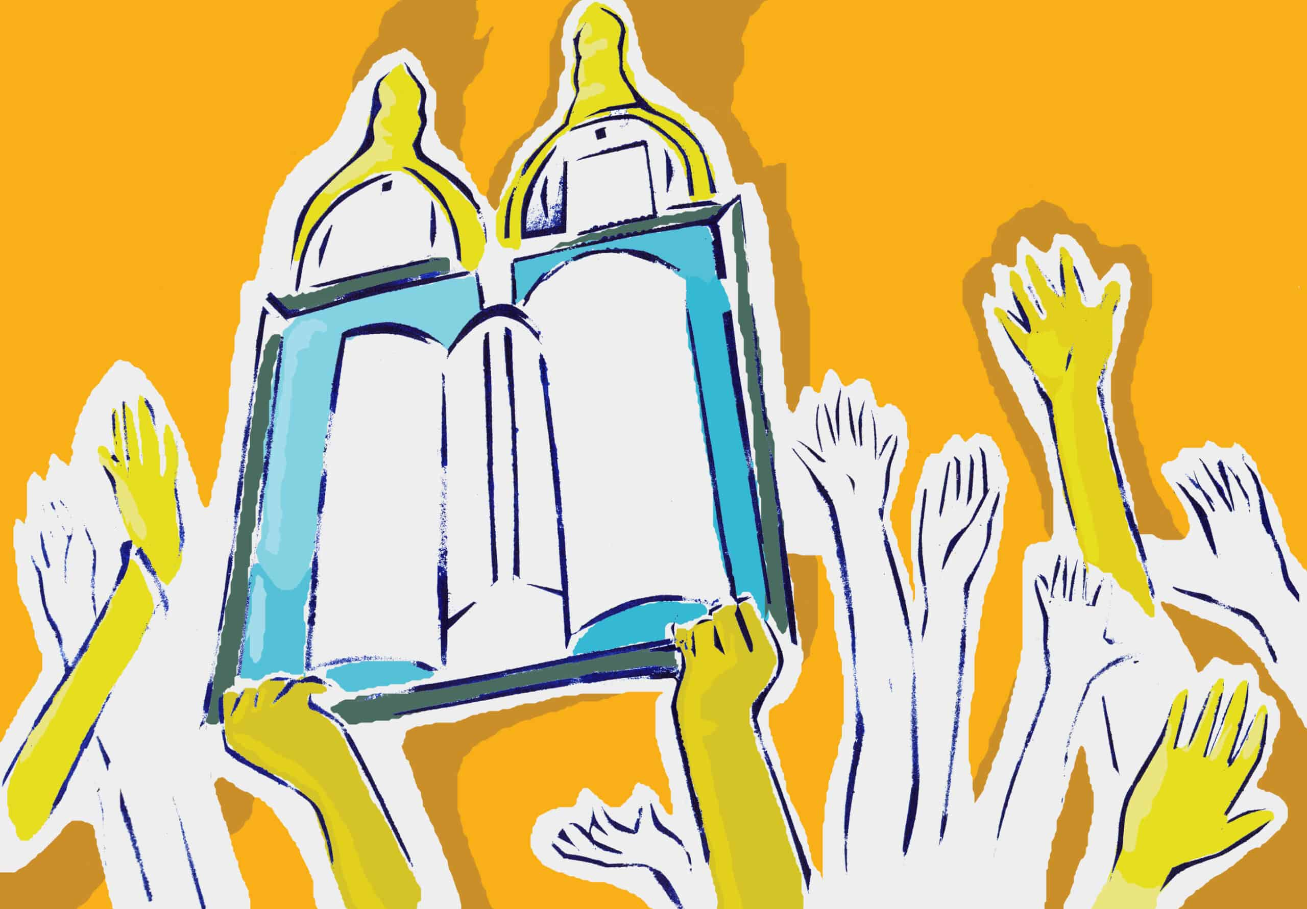 A cute graphic of the Torah with hands reaching up towards it.