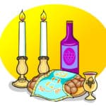 An illustration of two shabbat candlesticks, a wine/grape juice bottle, a challah covered by a blue cloth, and a gold kiddush cup.