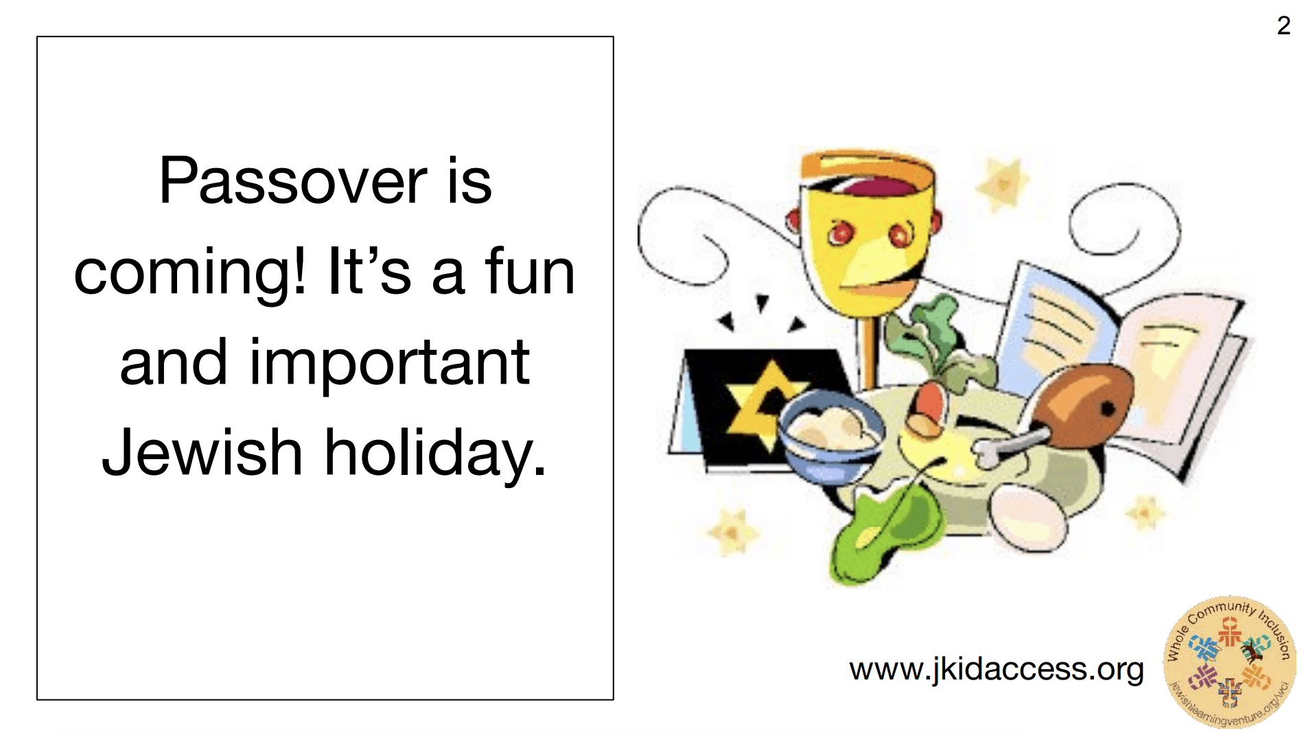 """A screenshot of a PDF that says """"Passover is coming! It's a fun and important Jewish holiday."""" On the right, there's an illustration of a kiddush cup, a booklet, and a seder plate."""