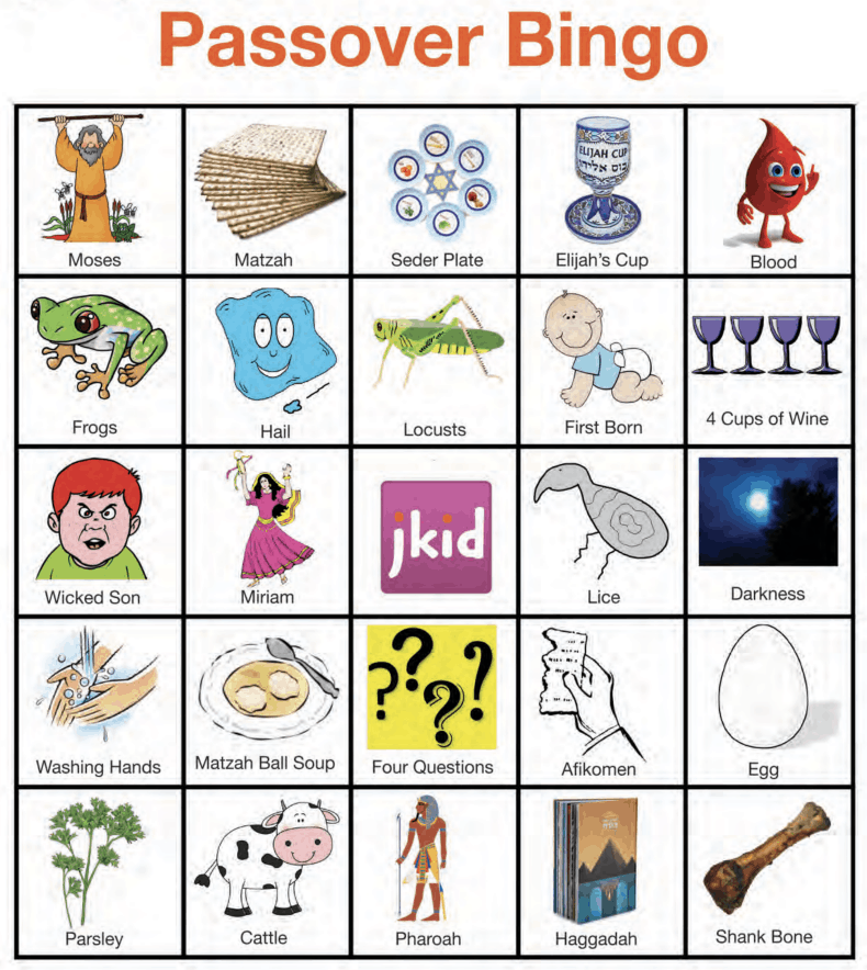 A screenshot of a Passover Bingo board with a 5x5 grid of various Passover symbols.