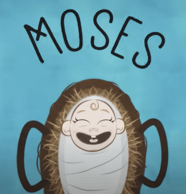 """An illustration of a smiling baby in a basket with """"Moses"""" written above it."""