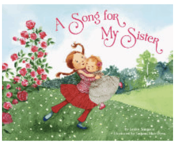 An image of the book cover A Song for my Sister. It's an illustration of a young girl and a baby embracing in the middle of a lush field.