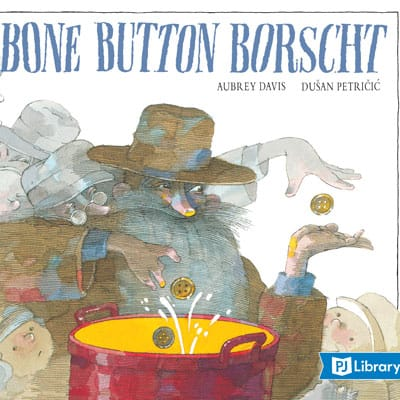 Illustrated book cover to Bone Button Borscht. A sloppily dressed man with a long beard stands over a simmering pot.
