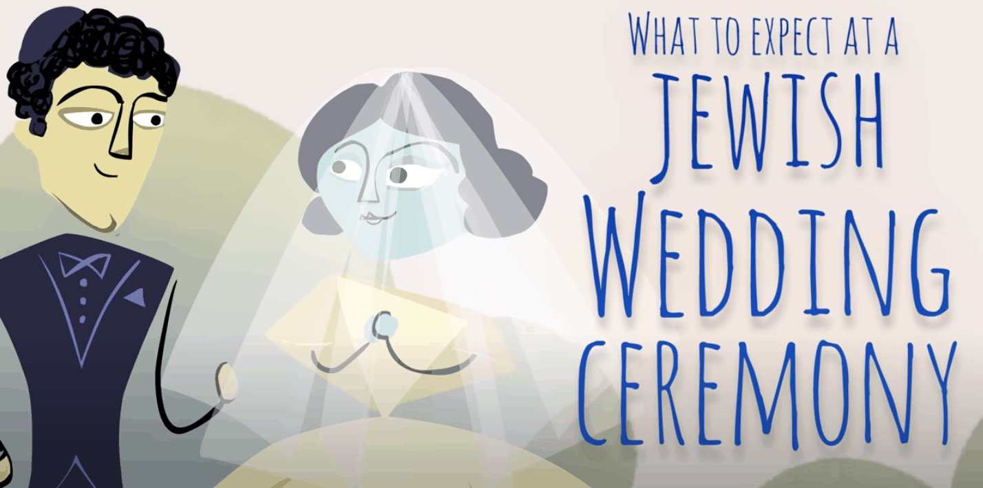 """Screenshot of a youtube video showing the title card """"What to expect at a Jewish wedding ceremony"""" with an illustrartion of a bride and groom."""
