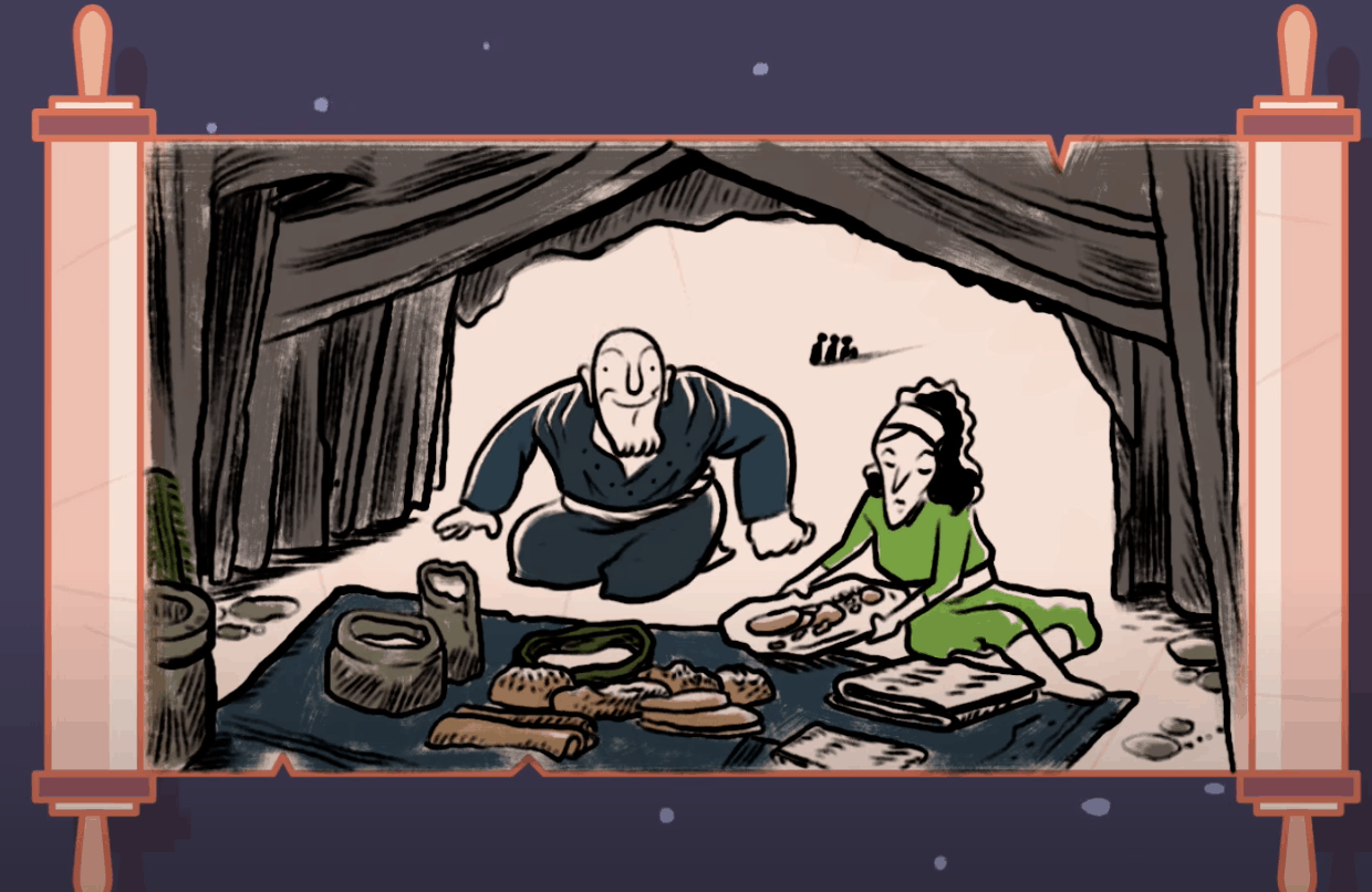A screenshot of a video showing Abraham and Sarah setting up a meal on a rug in their tent. The outline of the illustration is a Torah scroll.