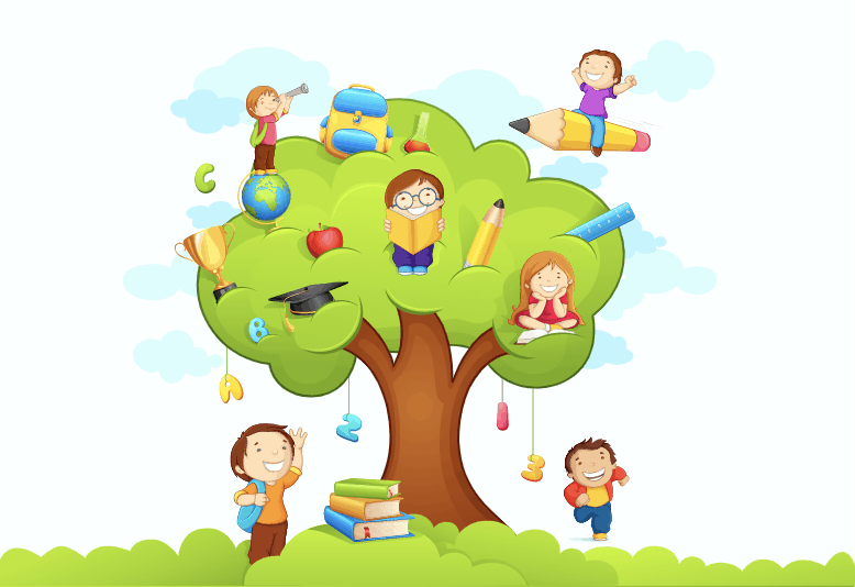 An illustration of a tree with kids sitting in the tree and around its base, and with different icons like pencils around its leaves.