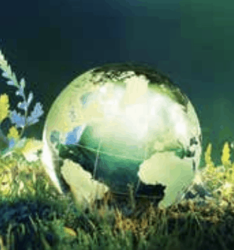 A screenshot of an image of the earth, illuminated, resting in a field of grass against a dark background.