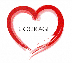 An image of the word courage inside a red heart